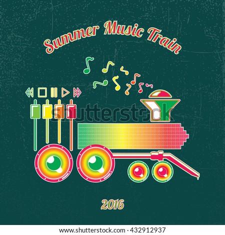Summer Music Train. Green to Magenta Spectrum Colored Music Elements on dark Grunge Background-Pictogram Flat Design - stock vector