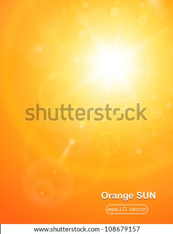 Summer natural  background with sun and lens flare. - stock vector