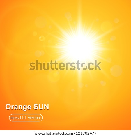 Summer natural  background with vector sun. - stock vector