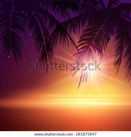 Summer Night. Palm trees  in the night. Vector illustration EPS 10 - stock vector