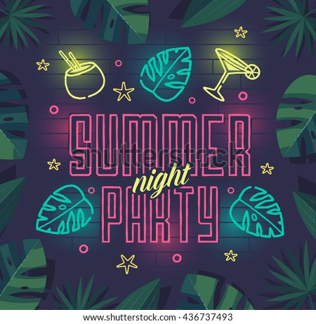 Summer night party. Summer beach party poster with lettering typography, neon elements and tropical leaves frame on dark background. Summer vacation, summer party template. Vector illustration. - stock vector