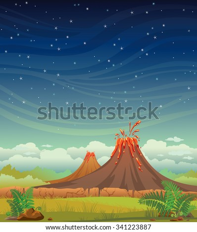 Summer night vector illustration. Prehistoric landscape with volcanoes and green grass on a starry sky.  - stock vector