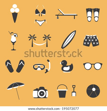 Summer objects icon set - stock vector