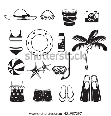 Summer Objects Icons Set, Monochrome, Equipment, Tool, Beach, Swimming, Sea, Vacations, Holiday, Lifestyle - stock vector