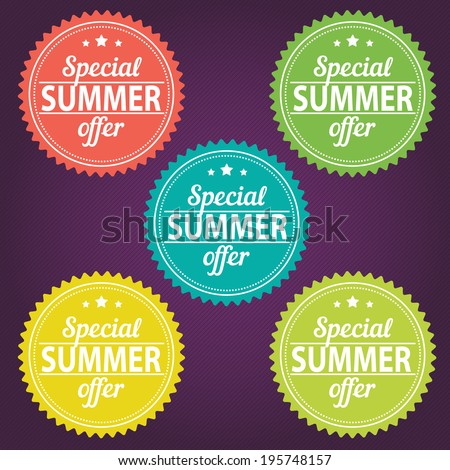 Summer offer stickers - stock vector