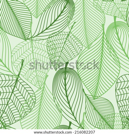 Summer or spring foliage green tree leaves seamless pattern background. For wallpaper, tiles and fabric design - stock vector
