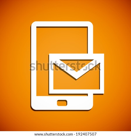 summer orange and white phone with message icon background (vector) - stock vector