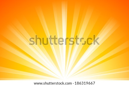 summer orange background with light Rays  (vector) - stock vector