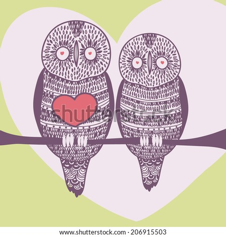 summer owl couple in love - stock vector