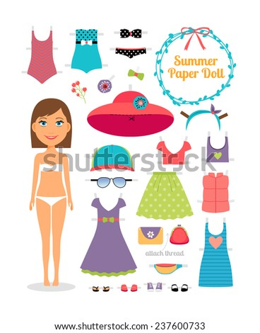 Summer paper doll. Girl with dress and hat.  Cute dress up paper doll. Body template, outfit and accessories. Summer collection. - stock vector
