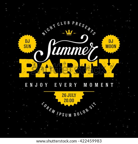 Summer Party lettering. Flyer, Banner or Poster for Summer Party. Vector illustration. - stock vector