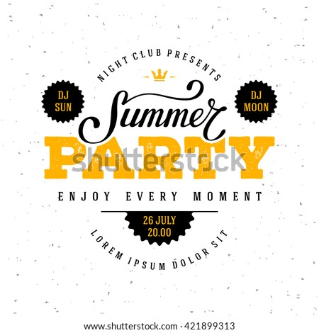 Summer Party lettering. Vector illustration. - stock vector