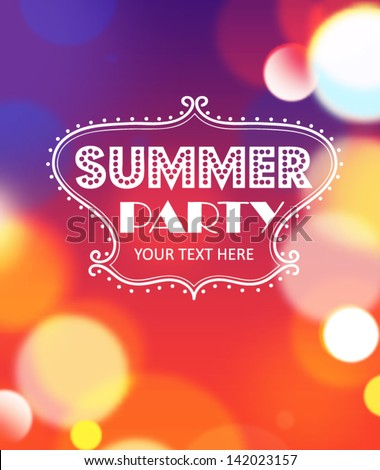 Summer party poster. Vector - stock vector