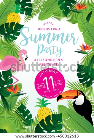 summer party tropical invitation card template vector/illustrator - stock vector
