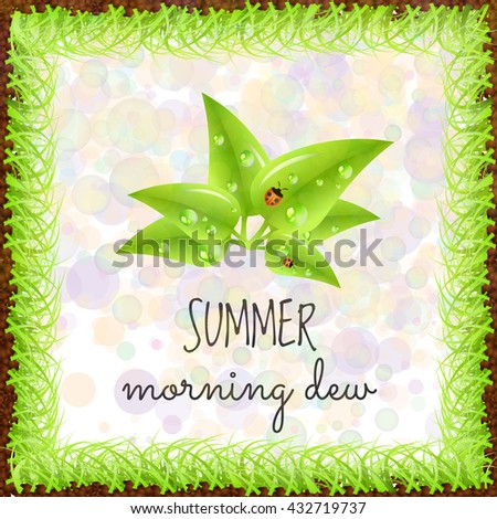 Summer positive postcard for congratulations with beginning of summer. Green leaves with dew drops and ladybugs. Summer card. Summer background. Summer vector illustration - stock vector