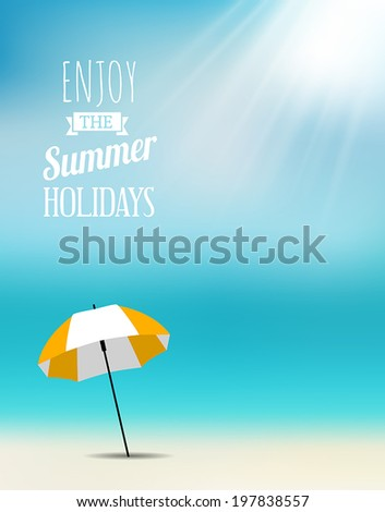Summer postcard with an umbrella on the beach. - stock vector