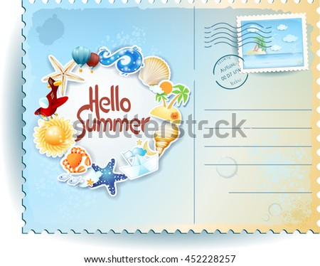 Summer postcard with colorful icons and message. Vector illustration  - stock vector