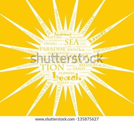 Summer poster with sun formed from the words. Vector illustration EPS8 - stock vector