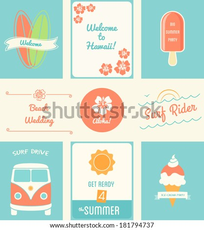 Summer Recreation Activities Posters and Design Elements - stock vector