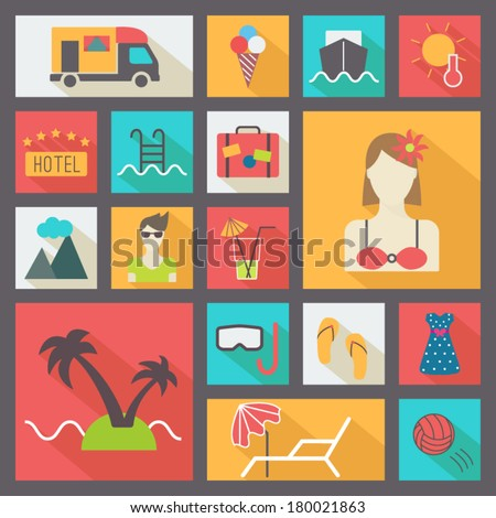 Summer rest icons set, flat design vector - stock vector