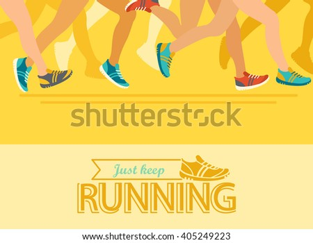 Summer running marathon, people run, colorful  abstract poster, vector illustration. - stock vector