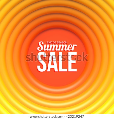 Summer sale banner. Abstract background with hot glossy rings and place for your content. - stock vector