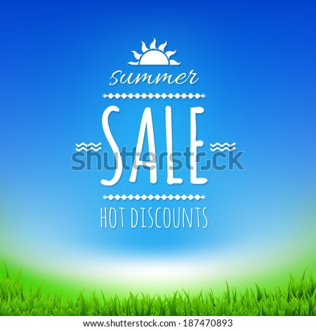 Summer Sale Banner With Sun, With Gradient Mesh, Vector Illustration - stock vector