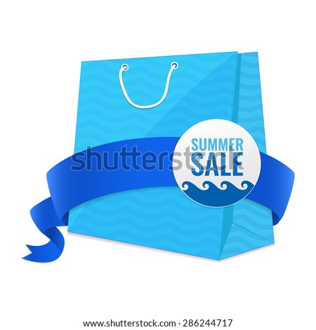 Summer sale blue shopping bag with waves pattern and ribbon. Discount concept vector illustration.  - stock vector