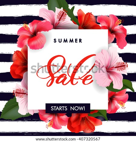 Summer sale Concept. Summer background with tropical flowers.  Template Vector. - stock vector