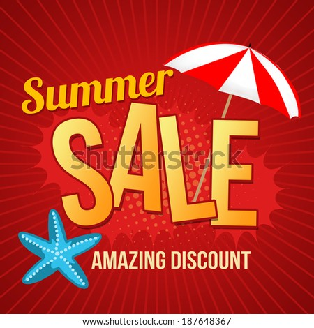 Summer sale design template with umbrella and starfish promotional poster, vector illustration - stock vector