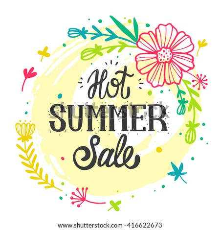 Summer Sale Design with Colorful Flowers in Background for Summer Seasonal Promotion. Vector Illustration. Advertisement about the summer sale on white background with flower frame.  - stock vector