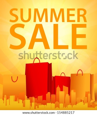 summer sale design with shopping bag - stock vector