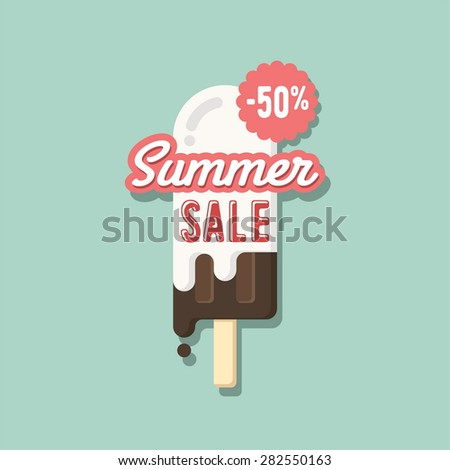 Summer sale. Flat design template. - stock vector