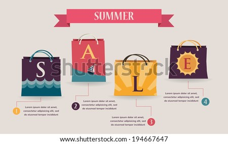 Summer sale infographics with , seasonal colorful shopping bags  - stock vector