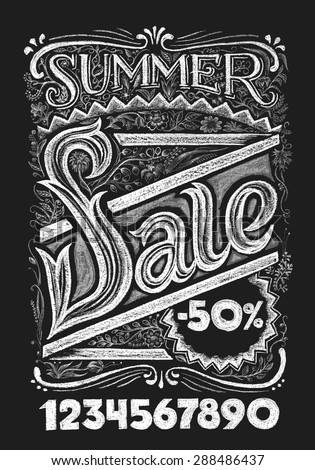 Summer sale. Lettering on chalkboard. Eps10. Transparency used. RGB. Global colors. Gradients free. Each elements are grouped separately - stock vector