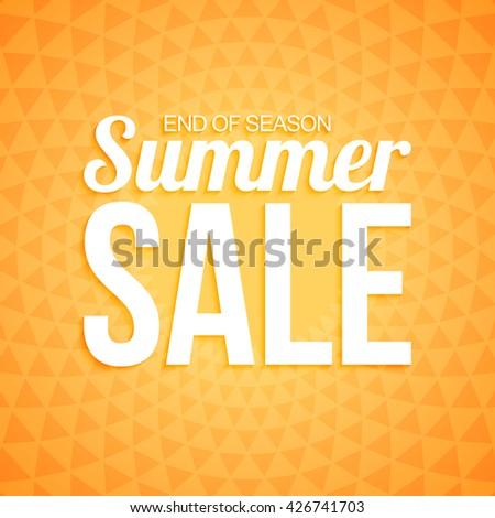 Summer sale on orange triangle background. - stock vector
