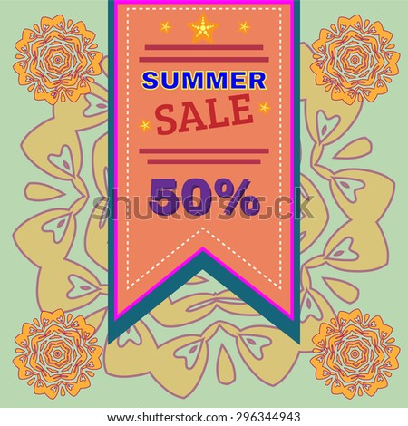 Summer Sale Percentage Discount Flyer Vector Illustration. Holiday Hot Vacation Card. Market Shop Goods Sale Banner. - stock vector