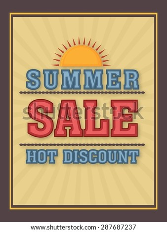 Summer Sale poster, banner or flyer design with hot discount offer. - stock vector
