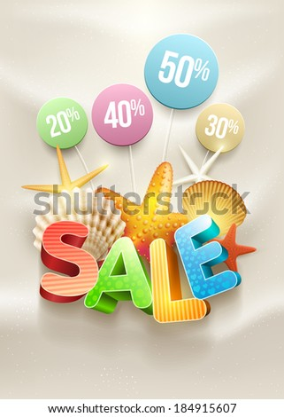 Summer Sale Poster design template. Elements are layered separately in vector file. - stock vector