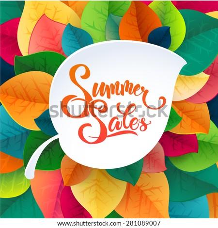Summer sale poster leaves background. Calligraphy logo summer sales promotional design element. - stock vector