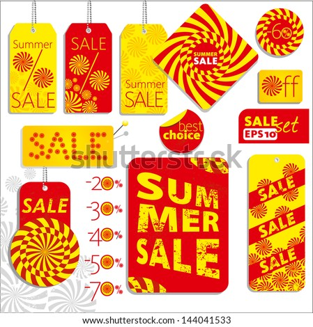 Summer sale set - stock vector