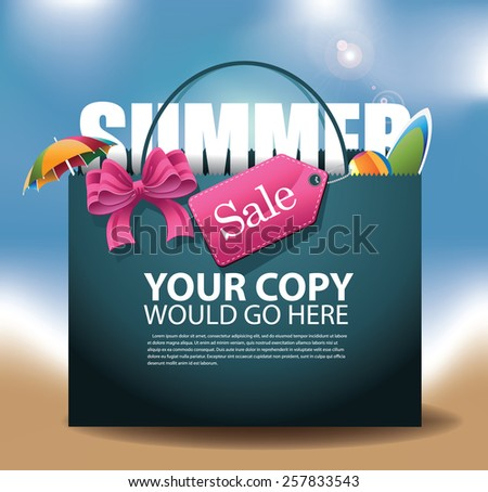 Summer Sale shopping bag Background EPS 10 vector royalty free stock illustration for greeting card, ad, promotion, poster, flier, blog, article, social media, marketing - stock vector