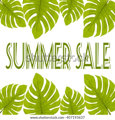 Summer sale. Summer sale with green leaves.  - stock vector
