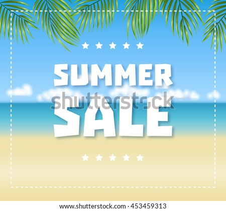 Summer sale text on blue sea, sand beach and palm leaves background. Vector illustration EPS10 - stock vector