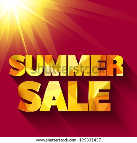 Summer sale typography. Vector background - stock vector