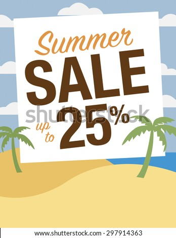 Summer sale up to 50% off poster - stock vector