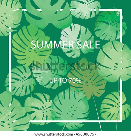 Summer sale vector. Summer sale background with philodendron leaves.  - stock vector