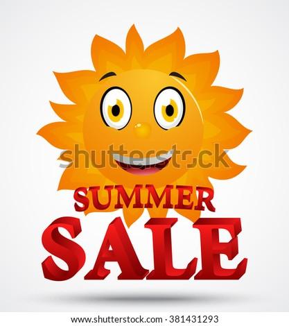Summer sale with cute sun cartoon - stock vector