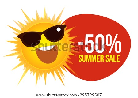 Summer sale with sun and sunglasses. Pricetag With a Smiling Sun. Vector. Design template for big sale. Concept of summer sale and vacation for travel. Shopping. For poster, sticker, web, print. - stock vector