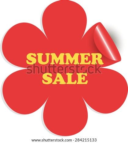 Summer sale. Yellow letters on a red flower. Sticker. Sale icon. Sale icon web.Sale icon www. Sale icon app. Sale icon big.Sale icon best.Sale icon site.Sale icon sign. Sale icon image. Sale icon shap - stock vector